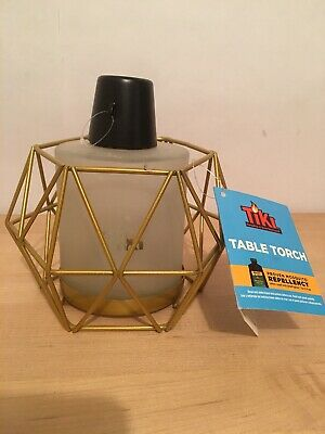 Gekwalificeerd Tiki Table Torch - Gold Wire With Frosted Glass
