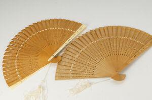 Japan-SENSU-Folding-Fan-Pair-Wood-Open-Work-Free-Ship-JP-671k02