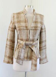 Zara-Woman-Tan-White-Plaid-Tweed-Tie-Front-Blazer-Jacket-Mandarin-Collar-4-Wool