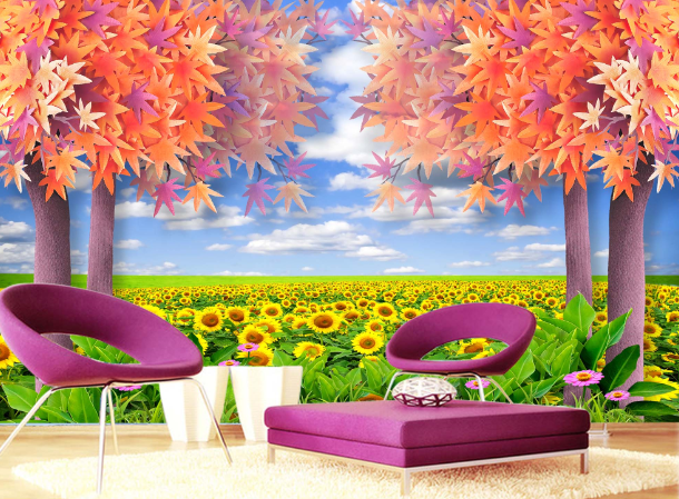 3D Maple Sunflower Field Paper Wall Print Wall Decal Wall Deco Indoor Murals