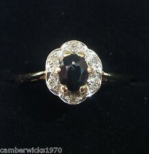 Antique Style 9ct Gold Sapphire & Diamond Ring, Size L