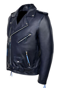blu scuro Designer pelle in Biker Fitted Classic Mens Brando RxUwqZ0pc