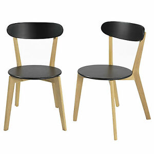 Set-of-2-Solid-Oak-Legs-Open-Back-Dining-Chairs-Furniture-Black