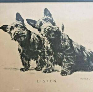 """LISTEN""  Scottish Terrier Print- Vintage 1930 Texaco Oil Company / Texas Co."