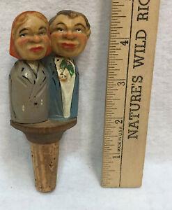Wine-Bottle-Stopper-Cork-Wood-Folk-Art-Movable-Kissing-Couple-Vintage-Mechanical