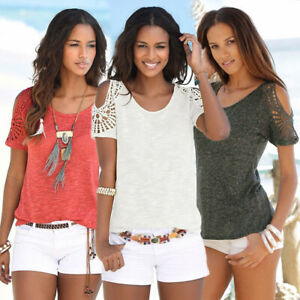 Womens-Ladies-Holiday-Shirt-Blouse-Tee-Hollow-Crochet-Cold-Shoulder-Summer-Tops