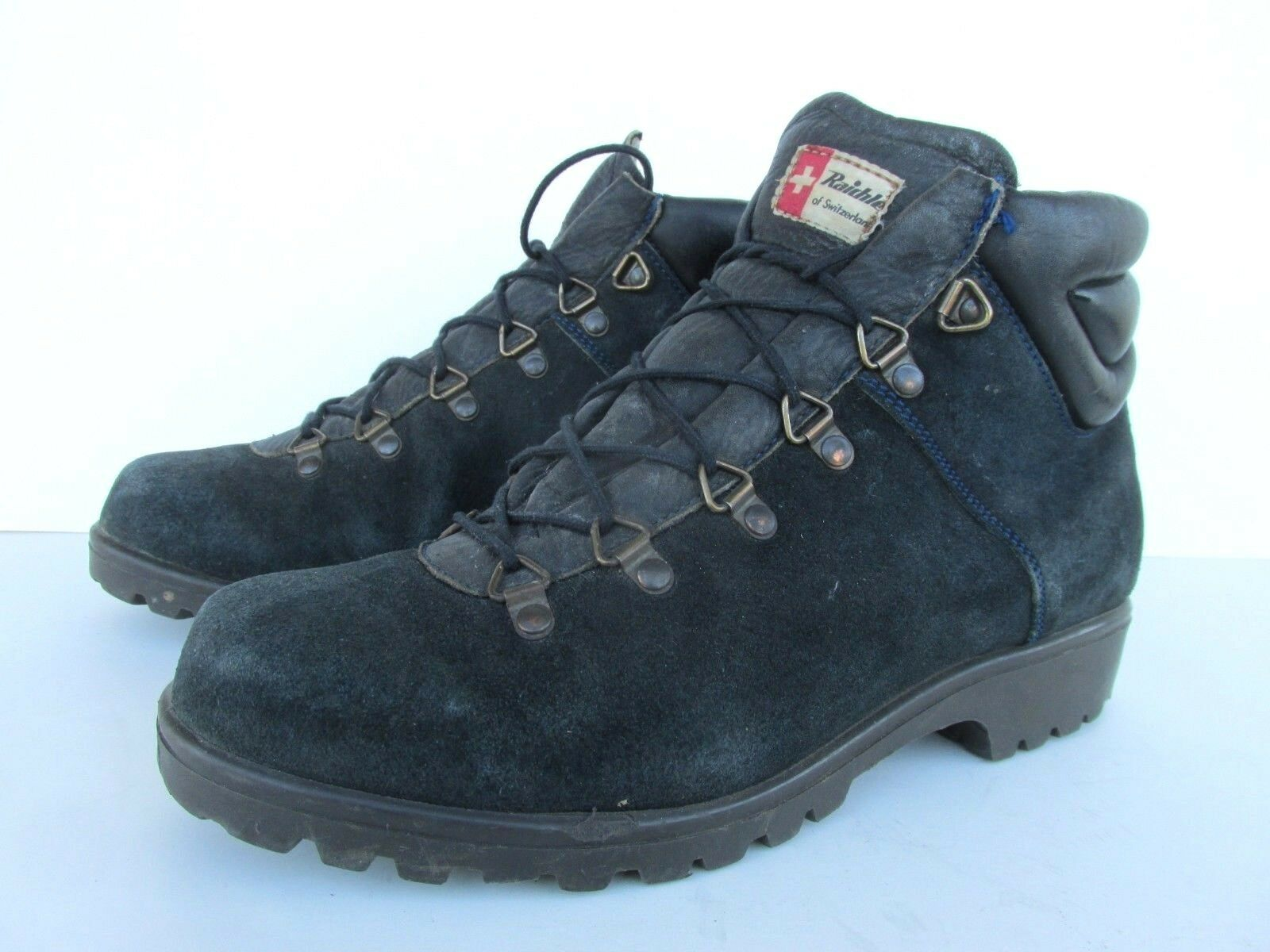 Raichle Vintage Navy Suede Leather Lace Up Hiking Boots Women's 6M