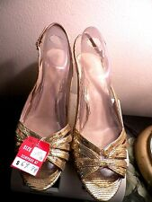NINE WEST 100% GENUINE LEATHER METALLIC GOLD WOMEN'S SHOES SIZE-10 M NWT