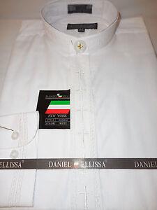 Mens White on White Embroidered Cross Nehru Collarless Dress Shirt ...