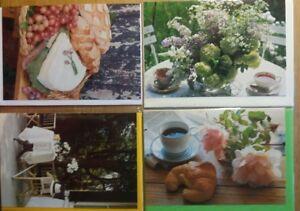 Karte-Fotokarten-Klappkarte-5-versch-Motive-Kaffee-Essen-Fruehstueck-15-Stueck-NEU