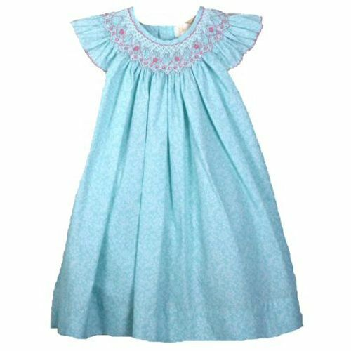 Angel Sleeve Gorgeous Ocean Aqua Petit Ami Gold Smocked Girl Dress Boutique