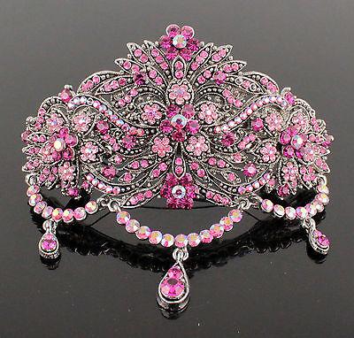 Circle Pink Austrian Rhinestone Cystal Hair Barrette Clip Ponytail Holder B150