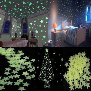 100pcs-Casa-Pared-Luz-Verde-Brillan-En-La-Oscuridad-Star-calcomania-de-pegatinas-Bebe-Cuarto-De