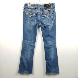 Me Udsmykket Pocket Flaps Miss Denim Buckle Blue 29 Sz Boot 30x33 Jeans Womens dnnS0p