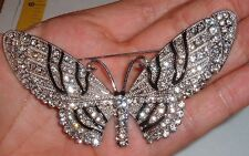 "BROOCH HUGE 4"" SILVER BLACK MOTH BUTTERFLY CRYSTAL RHINESTONES DECO RUNWAY PIN"