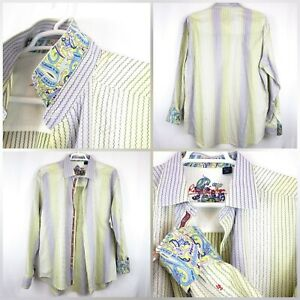 Robert-Graham-Mens-SZ-XXL-Striped-Flip-Cuff-Long-Sleeve-Button-Down-Shirt