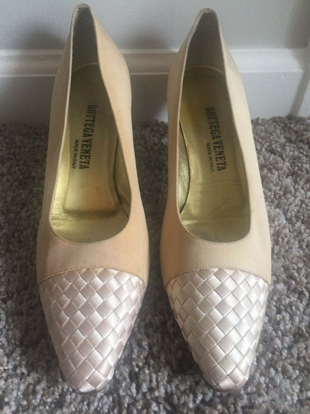Bottega Veneta Pale Yellow Yellow Yellow gold Silk Pumps Heels shoes Woven Toe size 9.5B e9e2e2