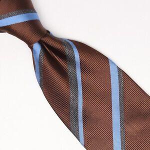Gladson-Mens-Silk-Necktie-Brown-Blue-Gray-Stripe-Twill-Weave-Woven-Tie-Italy