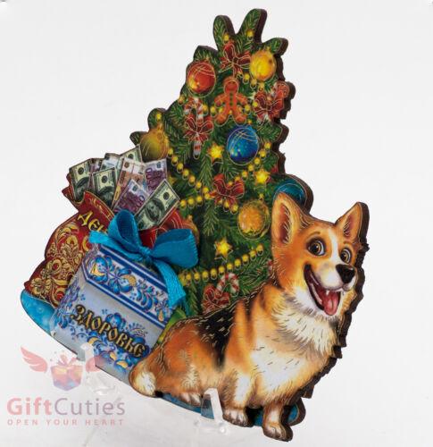Russian Wooden fridge Magnet talisman of Corgi Dog symbol of Happy New Year 2018