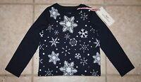 Vineyard Vines Girls 2t Long Sleeve Navy Snowflake Top