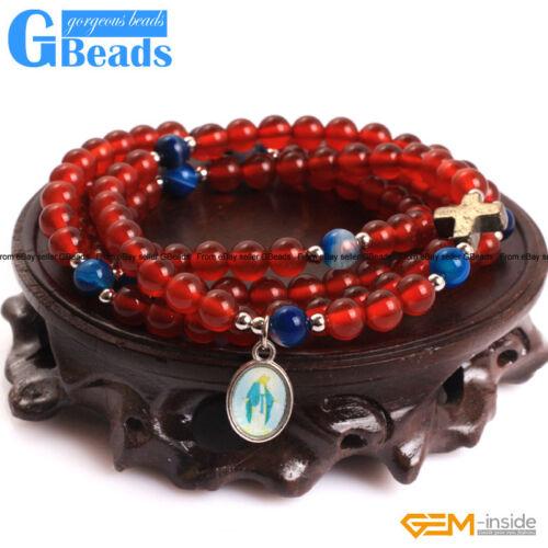 Handmade Assorted Stones Beaded Prayer Rosary Jewelry Necklace Bracelet 30 Inch