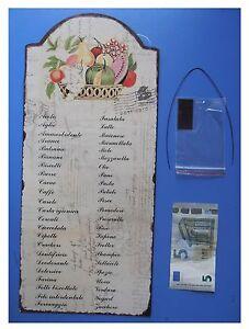 Targa-vintage-034-Cosa-manca-oggi-034-con-cesto-di-frutta-metallo-cm-40x18