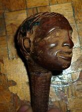 Ancien Pommeau de canne tete d'homme en bois sculpté XIX