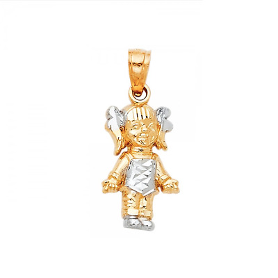 Polished Necklace Charm Child Baby 14K Solid Yellow White Gold Girl Pendant