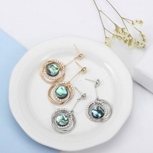 Fashion Natural Colorful Coquille d/'Haliotide Double Cercle Cristal Métal Clous D/'Oreilles