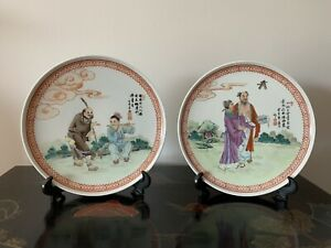 Two-Vintage-Hand-Painted-Chinese-Plates