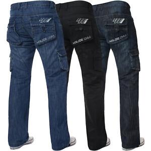 Jeans-Para-Hombre-De-Carga-Combate-Denim-Pantalones-de-vestir-pantalones-Informal-Trabajo-Kruze