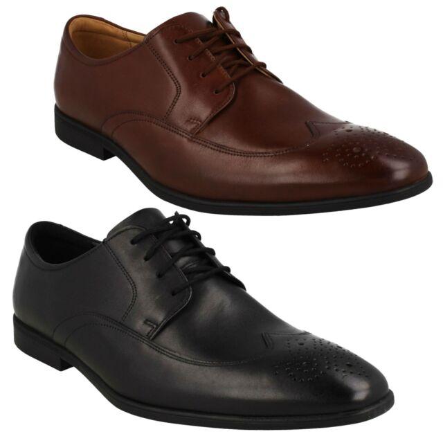 CLARKS MENS FORMAL Shoes COLING WALK DERBY Walnut Leather UK 9.5 44
