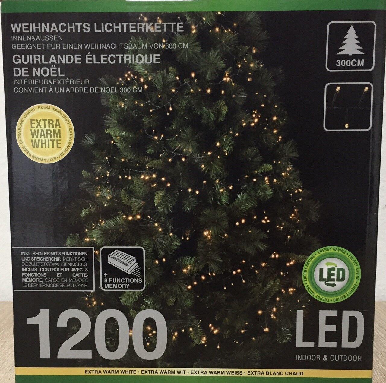 Lichterkette 1200 LED 8 Funktionen,EXTRA-WARM-WEISS,Licht für 3m Weihnachtsbaum  | Lebhaft und liebenswert