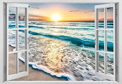 3d window ocean sunset shining  Wall Art Sticker mural Decal Decor seascape  W50