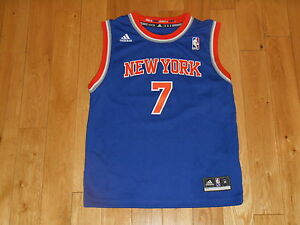 best service 6fcd3 24edf Details about adidas CARMELO ANTHONY Blue NEW YORK KNICKS Youth NBA Team  Replica JERSEY Sz Med