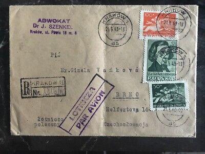 Briefmarken Polen RüCksichtsvoll 1948 Krakau Polen Registrierte Abdeckung,brno Tschechoslowakei Chopin Briefmarke Spezieller Sommer Sale