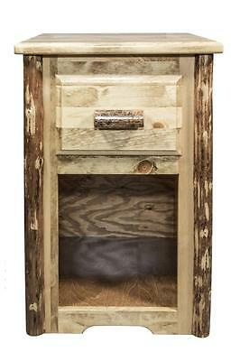 Log Night Stand With Drawer Rustic Pine End Tables Amish Made