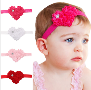 4 Piece Childrens Infant Baby Girls Valentines Day Heart Rhinestone