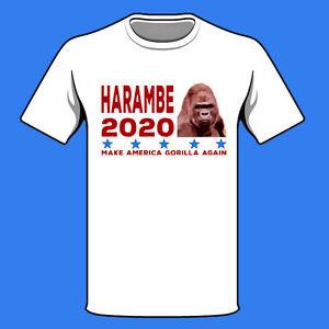 5bbe2c404 NEW HARAMBE 2020 SHIRT MAKE AMERICA GORILLA DONALD TRUMP MEME SPOOF ...