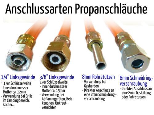 """Schlauch Propangas 40 cm 1//4/"""" Gewinde x Schneidringverschraubung 8mm für Gasrohr"""