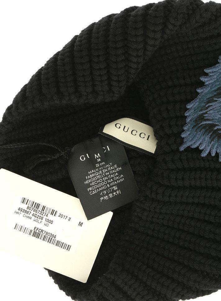 NEW WOLF GUCCI LUXURY CURRENT BLACK KNIT 100% WOOL WOLF NEW APPLIQUE BEANIE HAT 58/M e2ac15