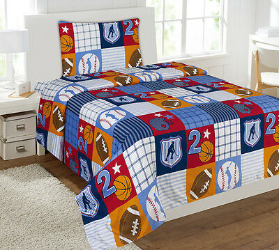 3PC PATCHWORK SPORTS BOYS SHEET SET MICROFIBER FLATE FITTED PILLOW CASE