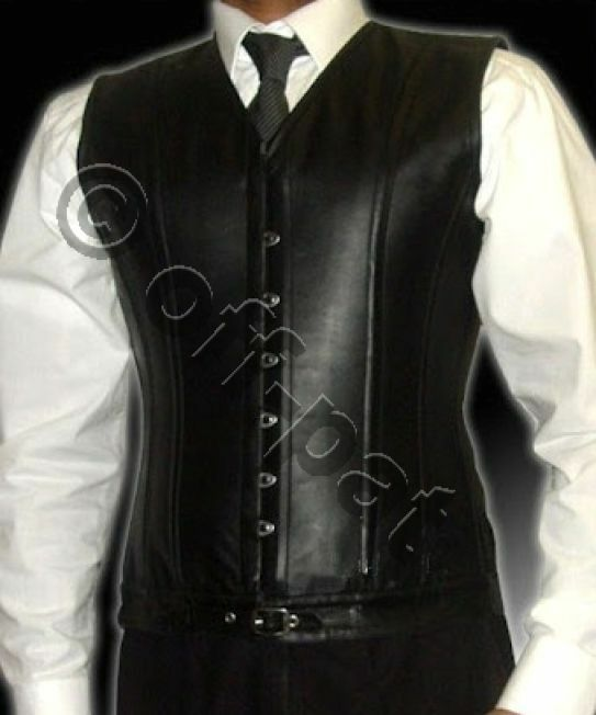 Mens  Lambs Leather Steel Boned STEAMPUNK Waistcoat Vest Corset GOTH  Victorian