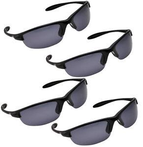 667b26722f62 4 Pack Men's Polarized Sport Wrap Around Sunglasses - Black | eBay