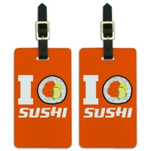 7092468c8 I Love Sushi Roll Heart Luggage ID Tags Suitcase Carry-On Cards ...