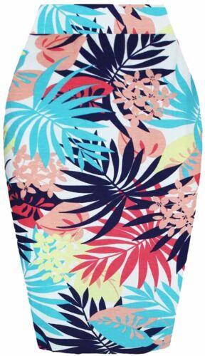 Plus Size Womens Floral Print High Waist Bodycon Tube Stretch Pencil Midi Skirt