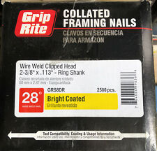 Pack of 2 Grip-Rite GRSP8DRHG Clipped Head 2-3//8-inch by .113-inch by 30 Degree Paper Collated Ring Shank Hot-Dip Galvanized Framing Nail