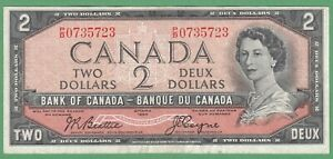 1954-Bank-of-Canada-2-Dollar-Note-Beattie-Coyne-P-B0735723-VF