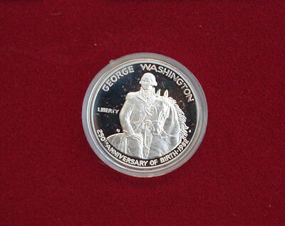 GEORGE WASHINGTON 90/% PROOF COMMEMORATIVE SILVER HALF-DOLLAR 1732-1982.
