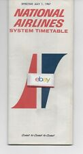 NATIONAL AIRLINES  7-1-67 SYSTEM TIMETABLE DC-8 & SUPER DC-8 ELECTRA 727-100